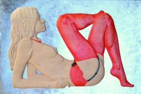 Frau mit roten Strümpfen
